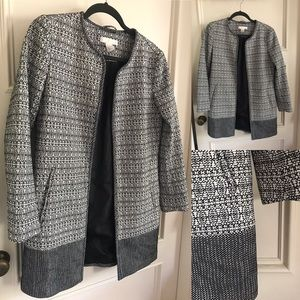 H&M open jacket, black & white, structured fabric
